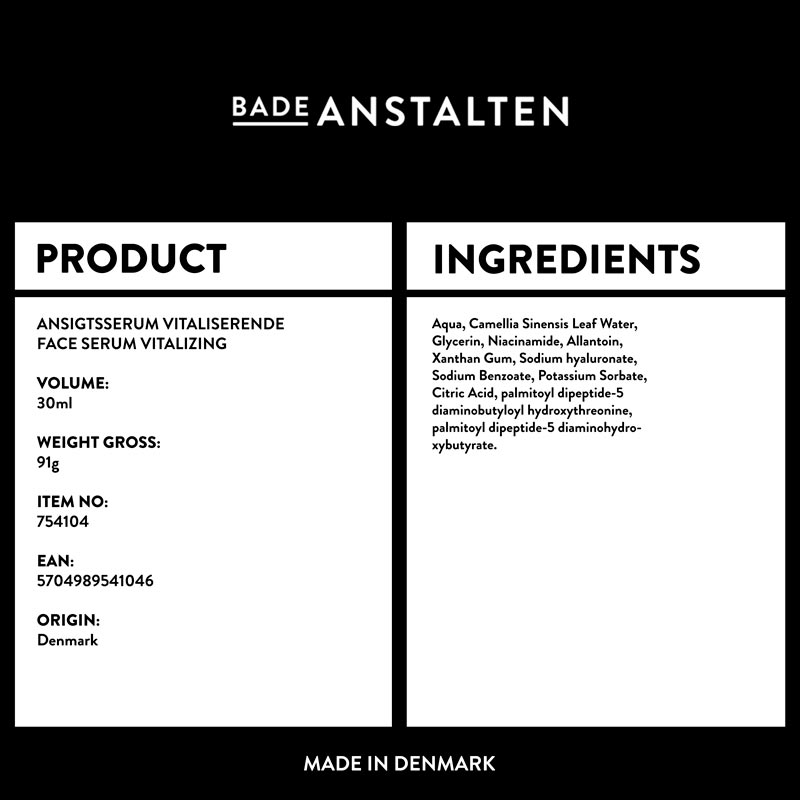 Ansigtsserum - Vitaliserende Ingredienser